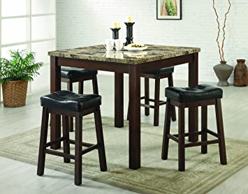 Coaster 5 Piece Dining Set, Faux Marble Table Top With 4 Barstools, Cherry