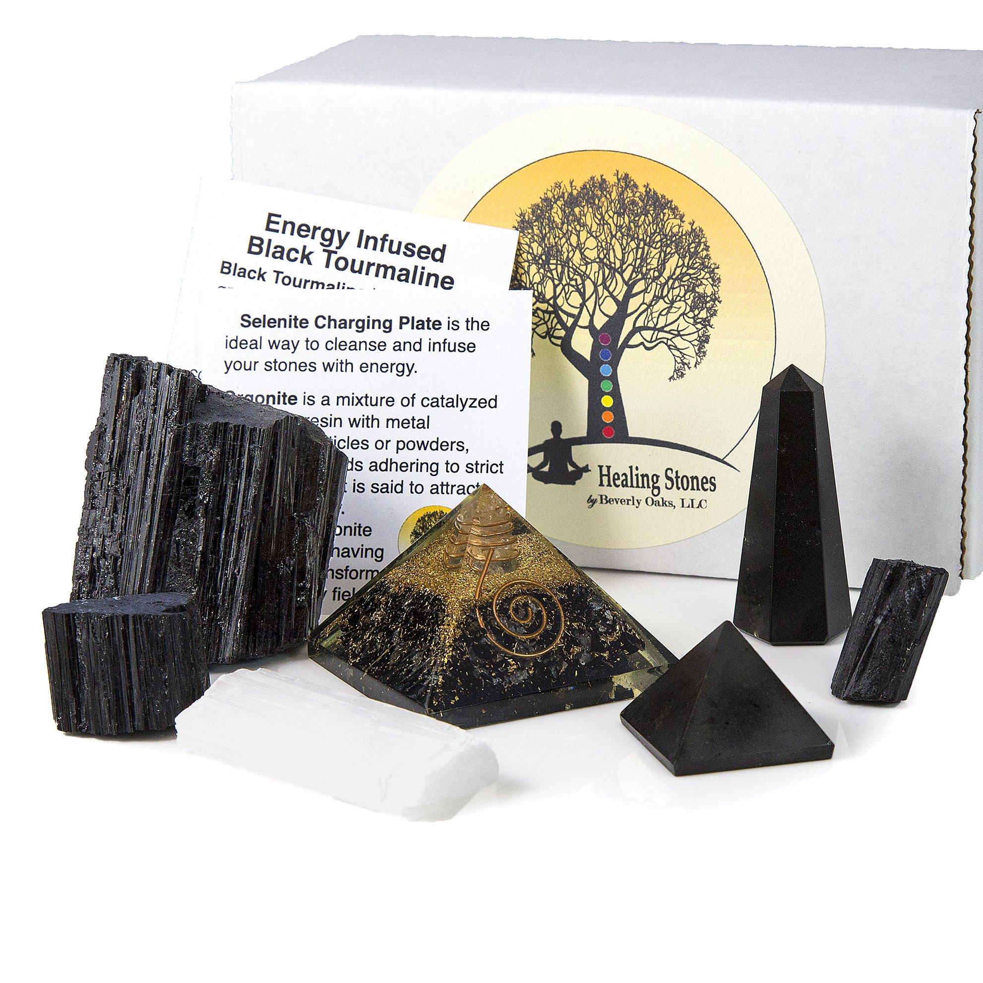 Beverly Oaks Charged Black Tourmaline Crystal Complete Kit - Tourmaline Stone EMF Protection Grounding - Three Raw Tourmaline Chunks, Orgonite Pyramid, Selenite, Gemstone Pyramid Obelisk
