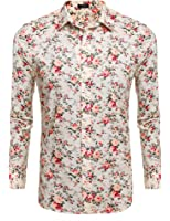 SSLR Men's Floral Cotton Casual Long Sleeve Button Down Shirt at ...