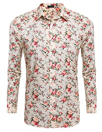 abc568016bee48 COOFANDY Men Casual Long Sleeve Stand Collar Button Floral Prints Shirts ,Beige,Small