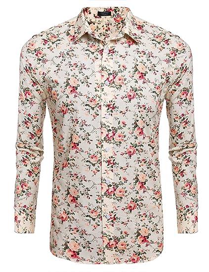 10ebd8eca01 Amazon.com  COOFANDY Men's Floral Print Slim Fit Long Sleeve Casual Button  Down Shirt  Clothing