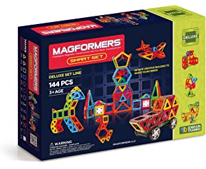 Magformers Smart Set (144-piece) , Deluxe Building Set. magnetic building blocks