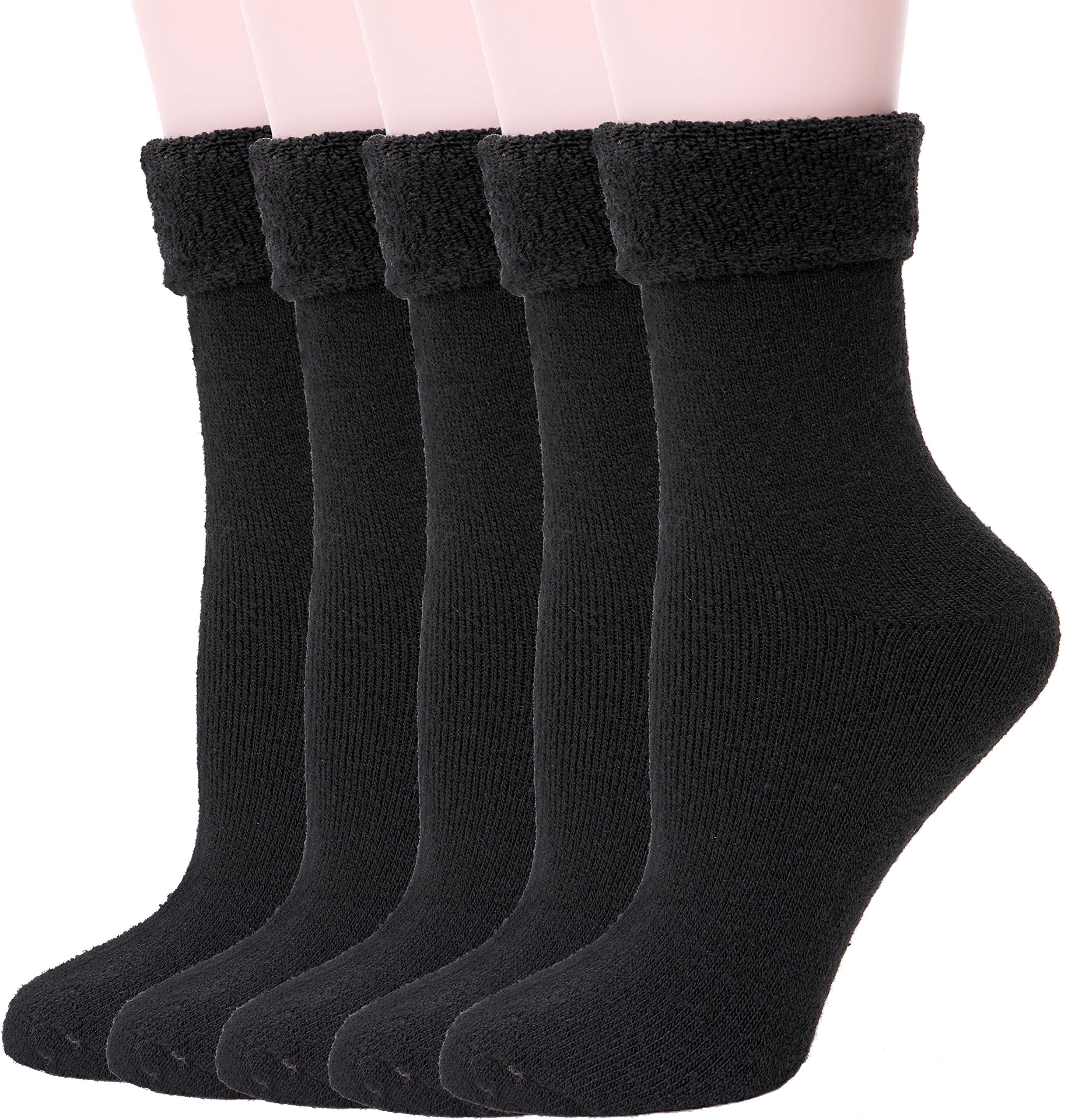 EBMORE Womens Wool Fuzzy Socks Thick Warm Thermal Winter Fleece lined Crew Socks 5 pack (Black)
