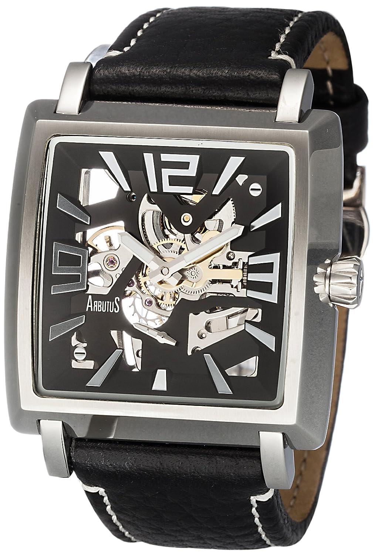 Arbutusメンズ用スケルトン自動正方形ダイヤルブラックレザーストラップ腕時計ar514 B00B8PC0WM