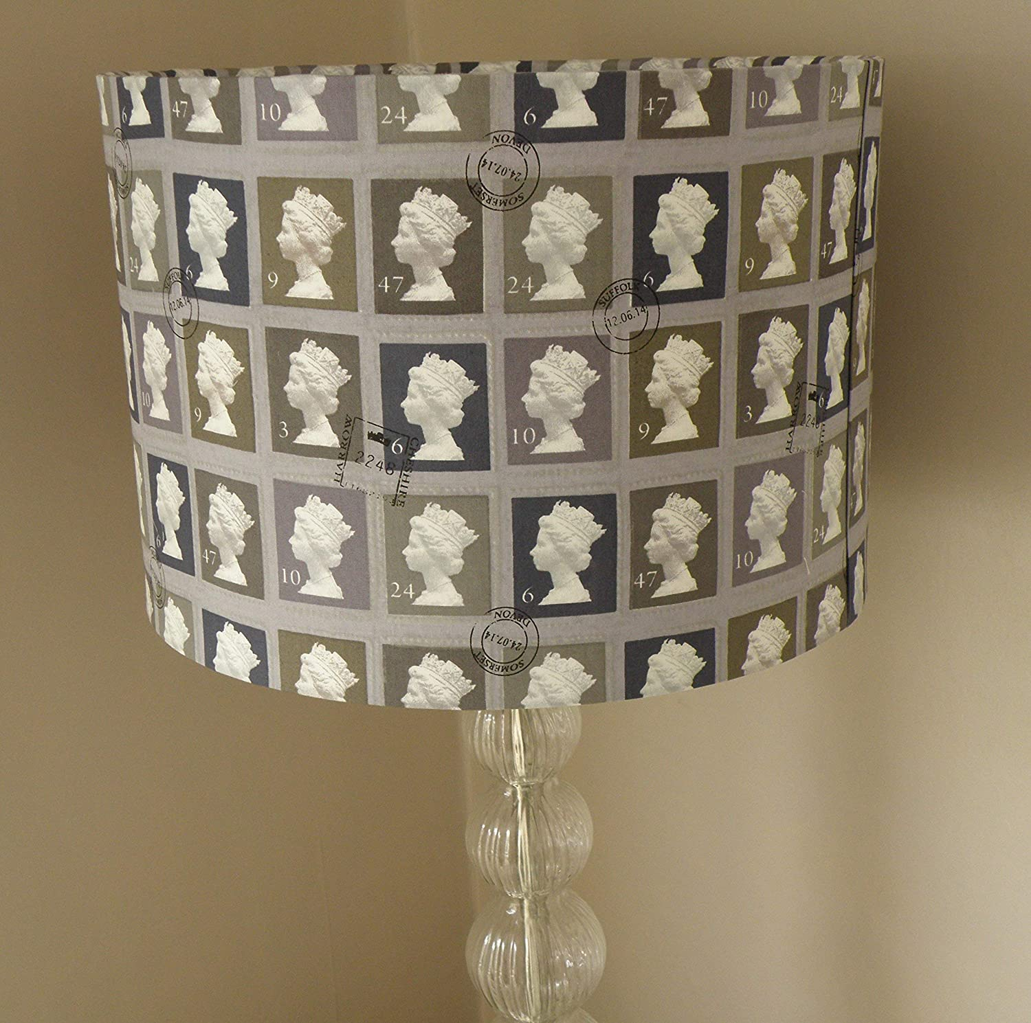 First Class Stamp Fabric Lampshade - Charcoal Grey or Magenta Mix - 30cm or 35cm