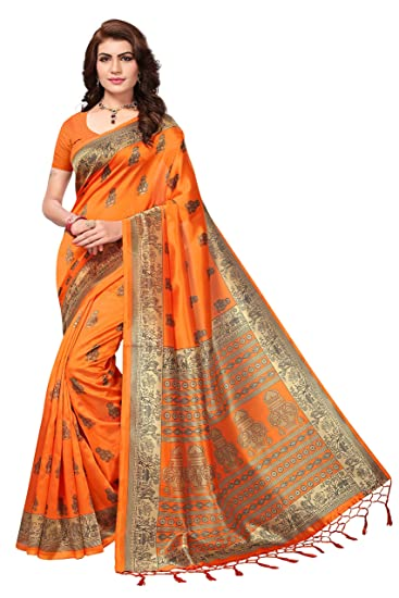 5b4c1fcd90d81d Art Silk with Blouse Piece Saree (kstassle10 Orange Free Size)  Amazon.in   Clothing   Accessories