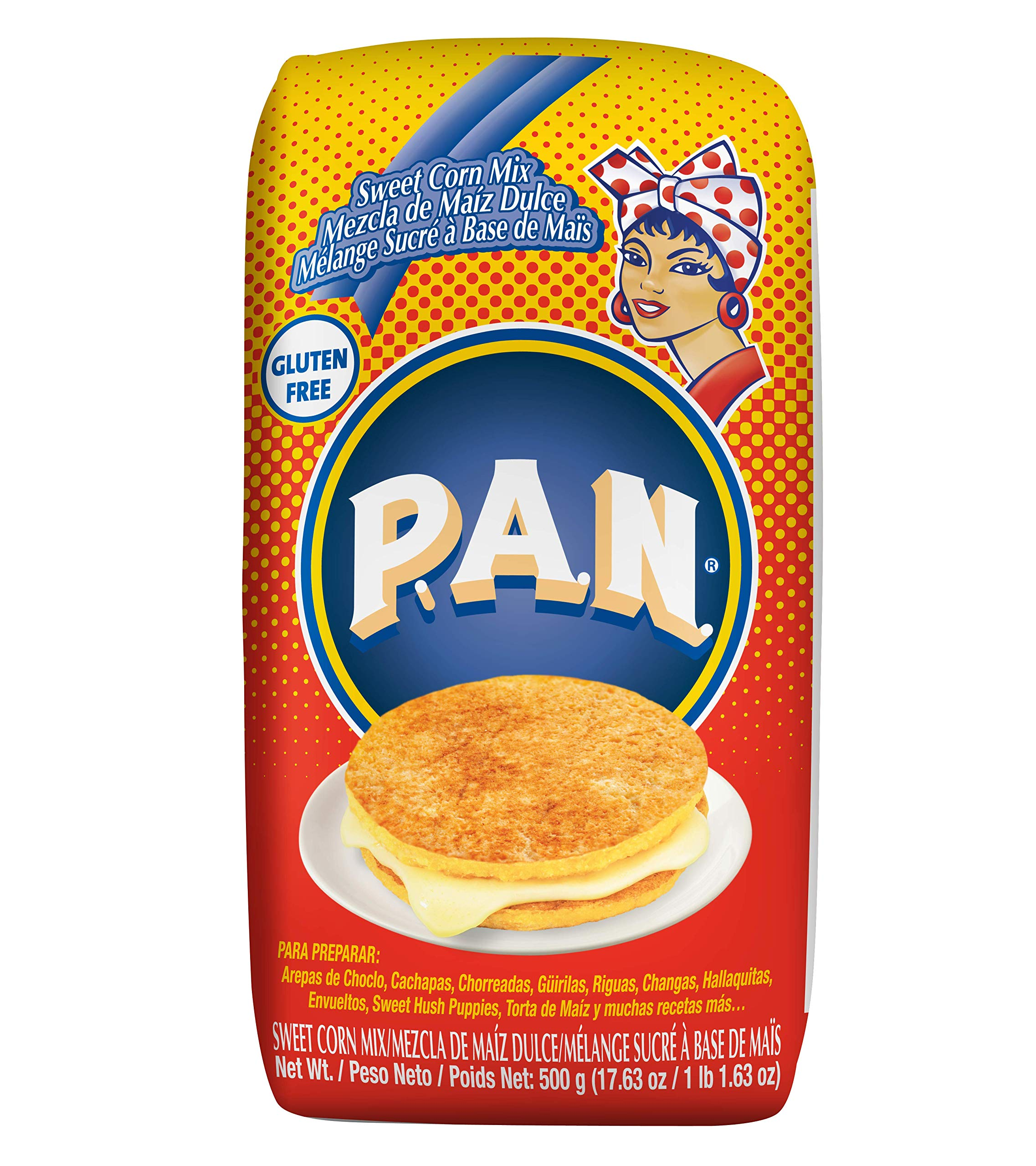 P.A.N. Sweet Corn Mix - Gluten Free and Kosher Mixture for Cachapas, 500 Grams (17.63 Ounces / 1 Pound 1.63 Ounces) (Pack of 12) by P.A.N.