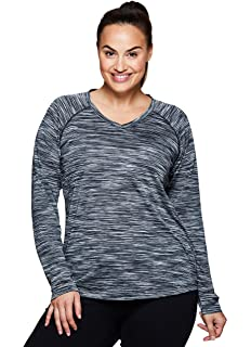 58afa227 RBX Active Women's Long Sleeve Striped 2-fer Back Top at Amazon ...