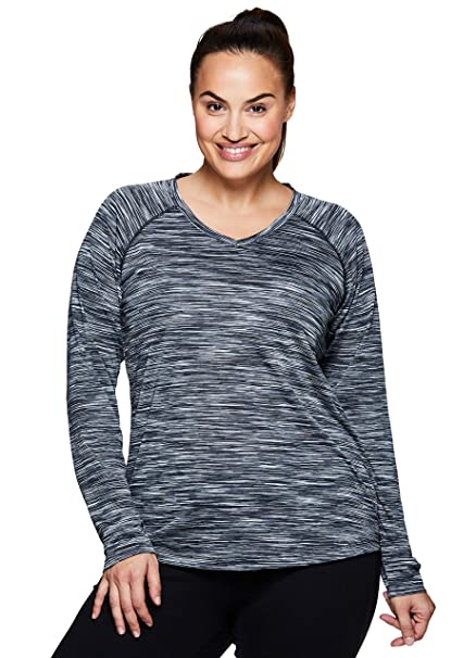f01788b900f RBX Active Women s Plus Size Plus Long Sleeve Space V-Neck Black Combo 1X
