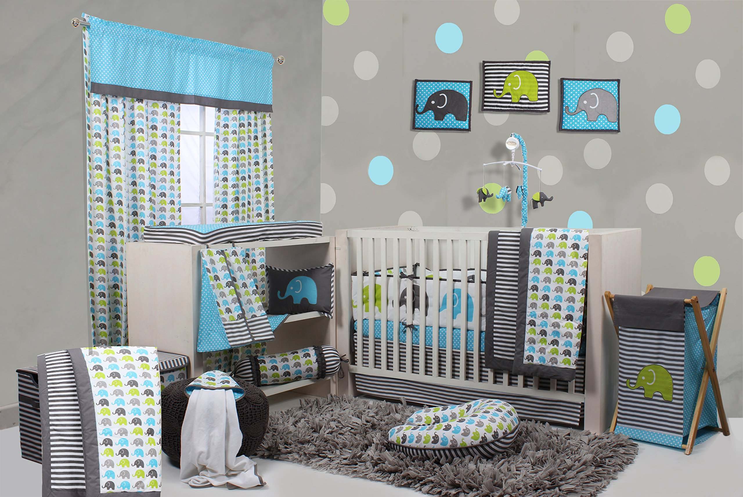 Bacati Elephants Crib Set with Bumper Pad, Aqua/Lime/Grey by Bacati
