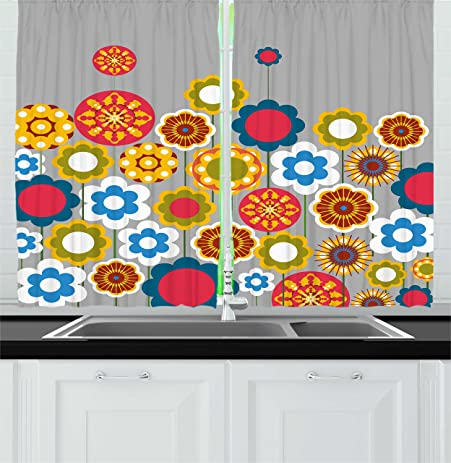 Floral Kitchen Curtains By Ambesonne, Cute Flower Heads In Circular Shapes  Modern Colorful Summer Girls