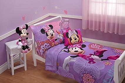 Disney 4 Piece Minnie's Fluttery Friends Toddler Bedding Set, Lavender