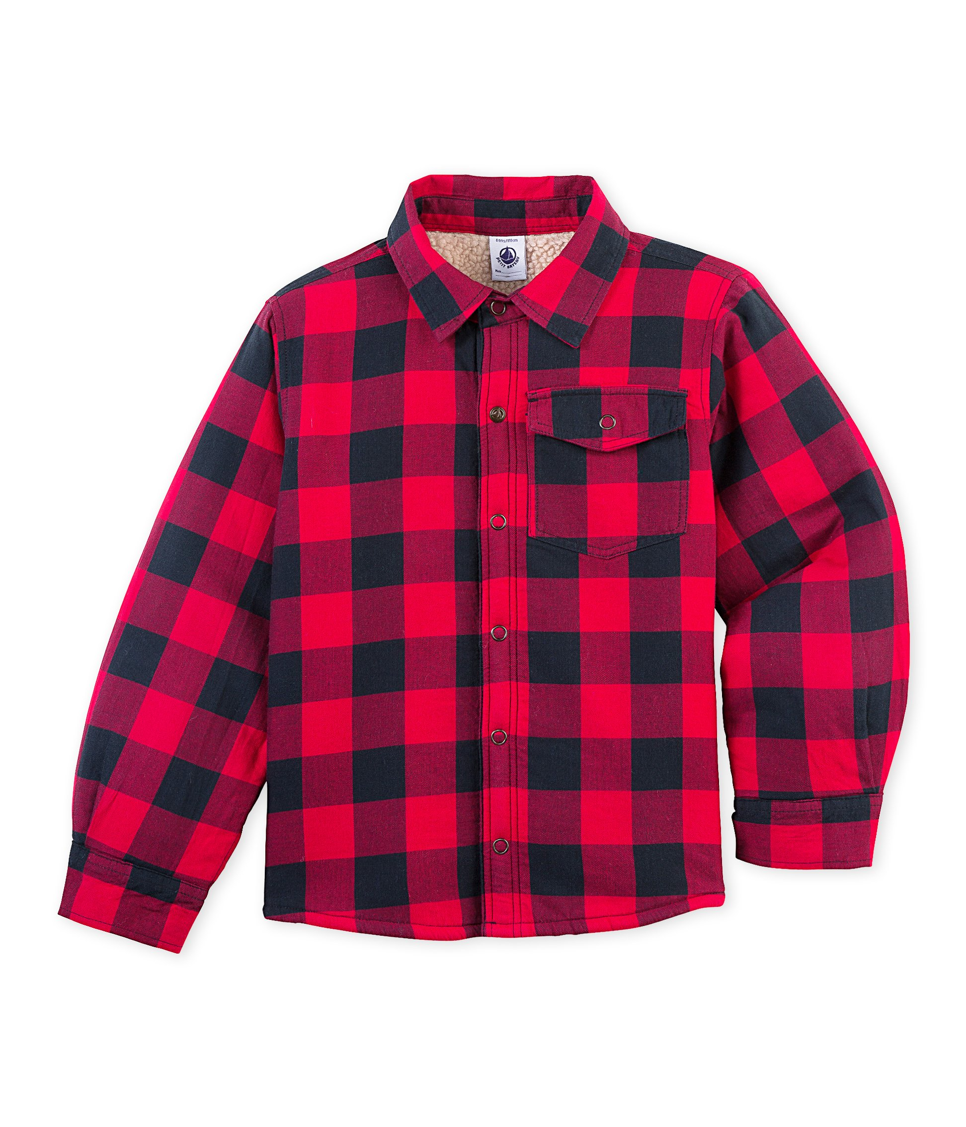 Petit Bateau Boys' Checkered Jacket with Sherpa Lining, Red Navy 6 Kids