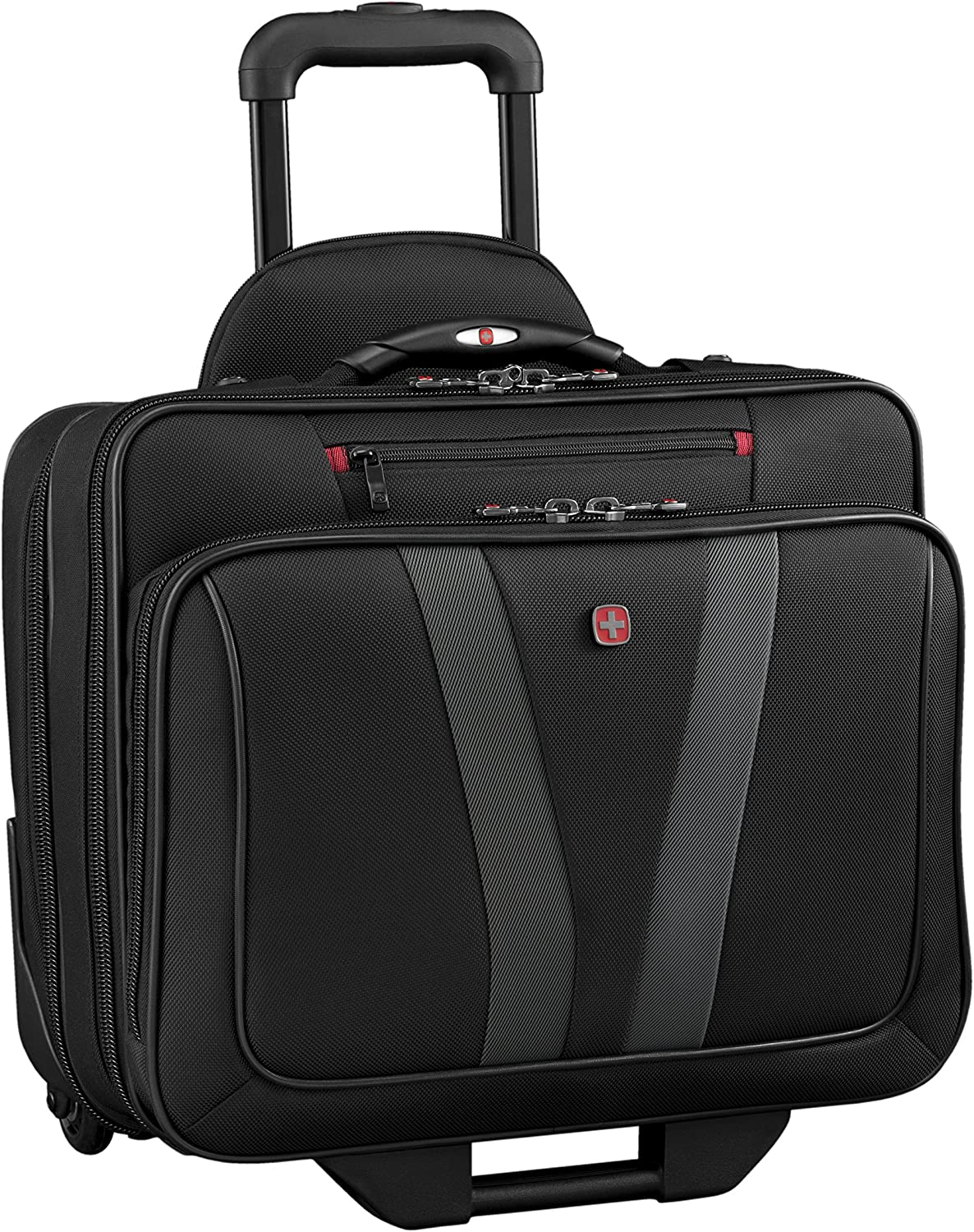 Wenger Luggage Granada Pro Padded Wheeled Laptop Bag with Pass-Thru, Black, 15.6-inch