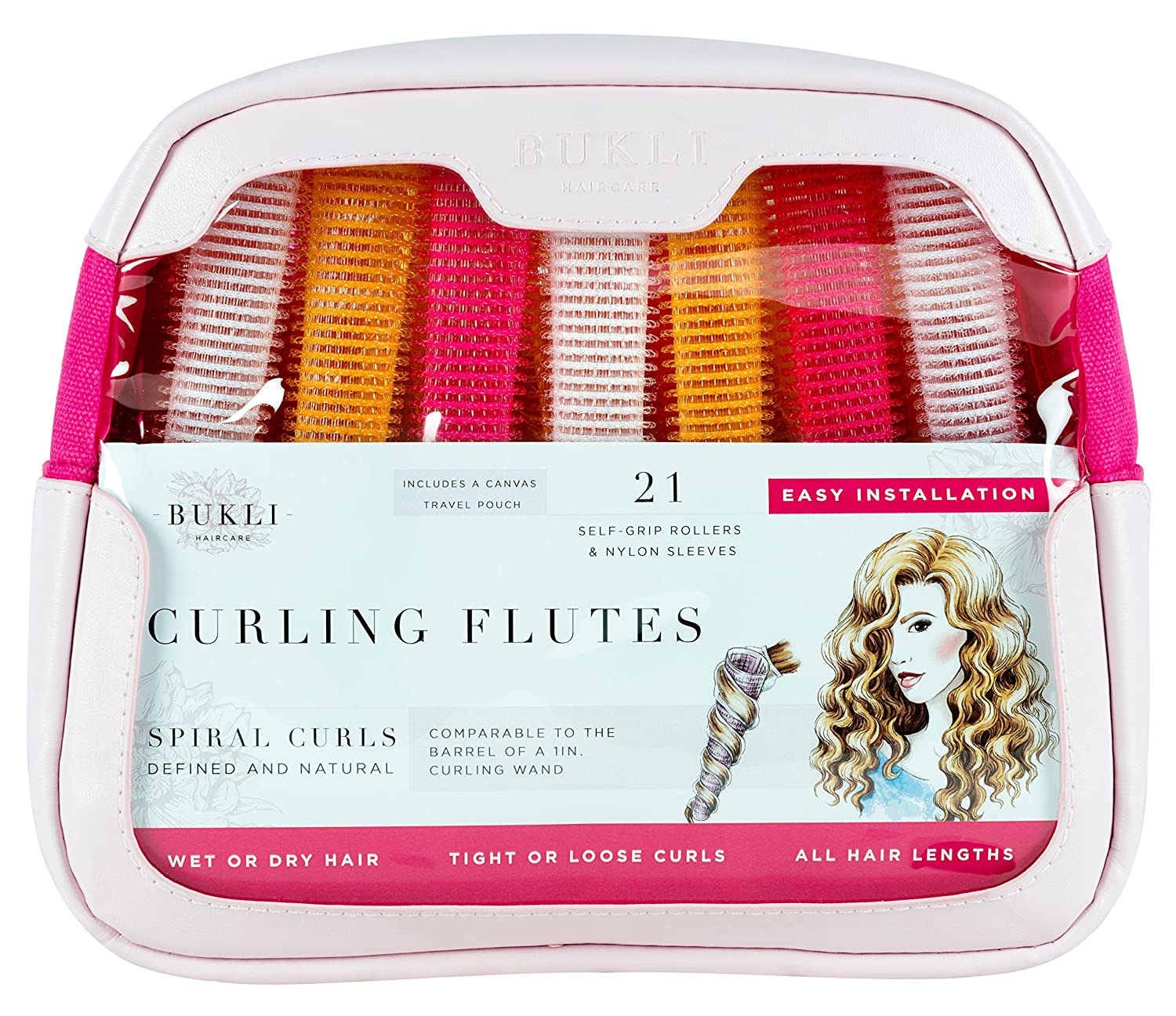 Curling Flutes, Long Self-Grip Hair Rollers for Spiral Curls, 21 Count, Deluxe PU Leather Bag + Canvas Pouch by Bukli Haircare CF-02-PNK213