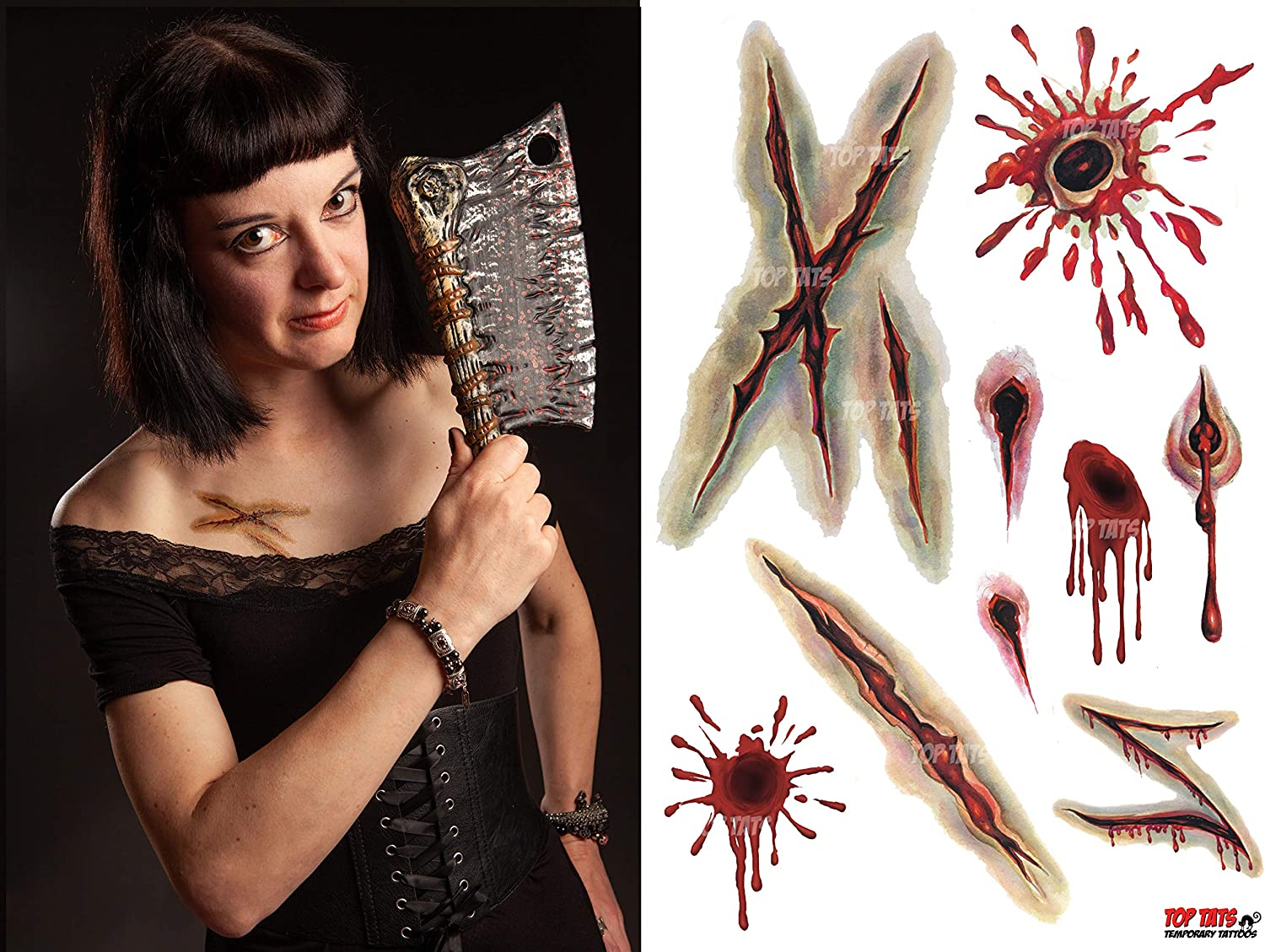 BULLET WOUND HALF FACE HORROR MASK LATEX HALLOWEEN FANCY DRESS COSTUME ACCESSORY