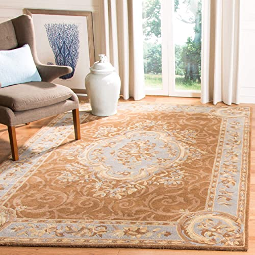 Safavieh Empire Collection EM409A Handmade Traditional European Blue and Brown Premium Wool Area Rug 8'3″ x 11'