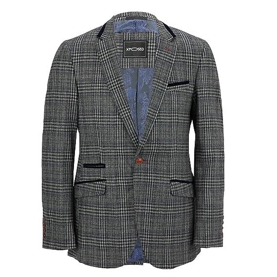 Mens Tweed Grey Checked Designer Vintage Elbow Patch Suit