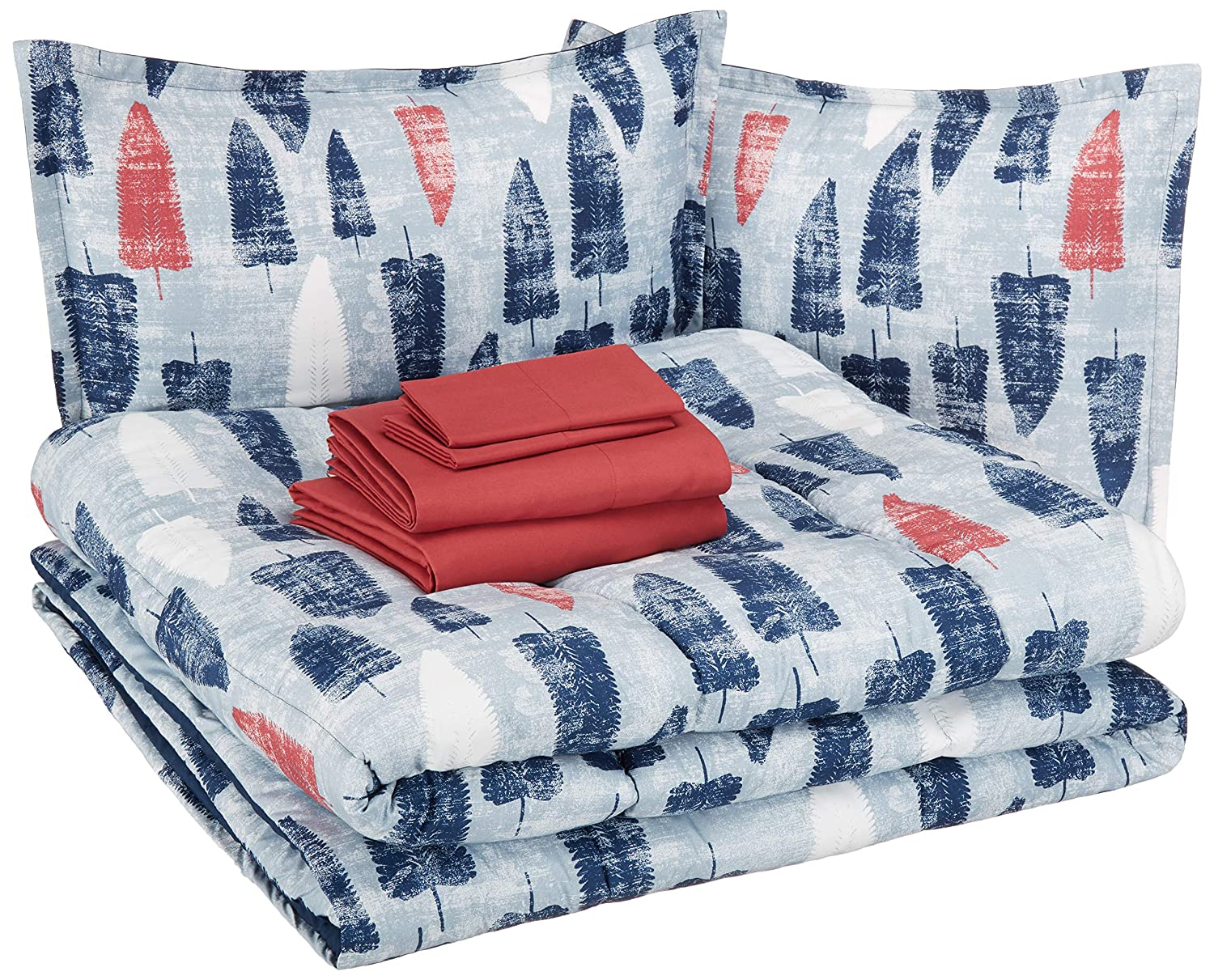 AmazonBasics Easy-Wash Microfiber Kid's Bed-in-a-Bag Bedding Set - Full / Queen, Red and Blue Feathers