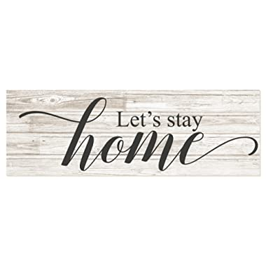 Let's Stay Home Rustic Wood Wall Sign 6x18 (White)