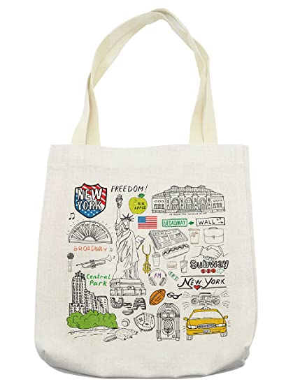 02a8c3547adc Lunarable American Tote Bag, New York Culture Metropolitan Museum Broadway  Crossroad Wall Street Sketch Style, Cloth Linen Reusable Bag for Shopping  ...