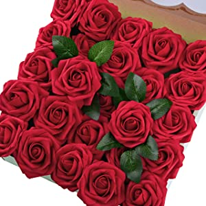 Breeze Talk Artificial Flowers Blush Roses 25pcs Realistic Fake Roses w/Stem for DIY Wedding Bouquets Centerpieces Arrangements Party Baby Shower Home Decorations (50pcs Dark Red)