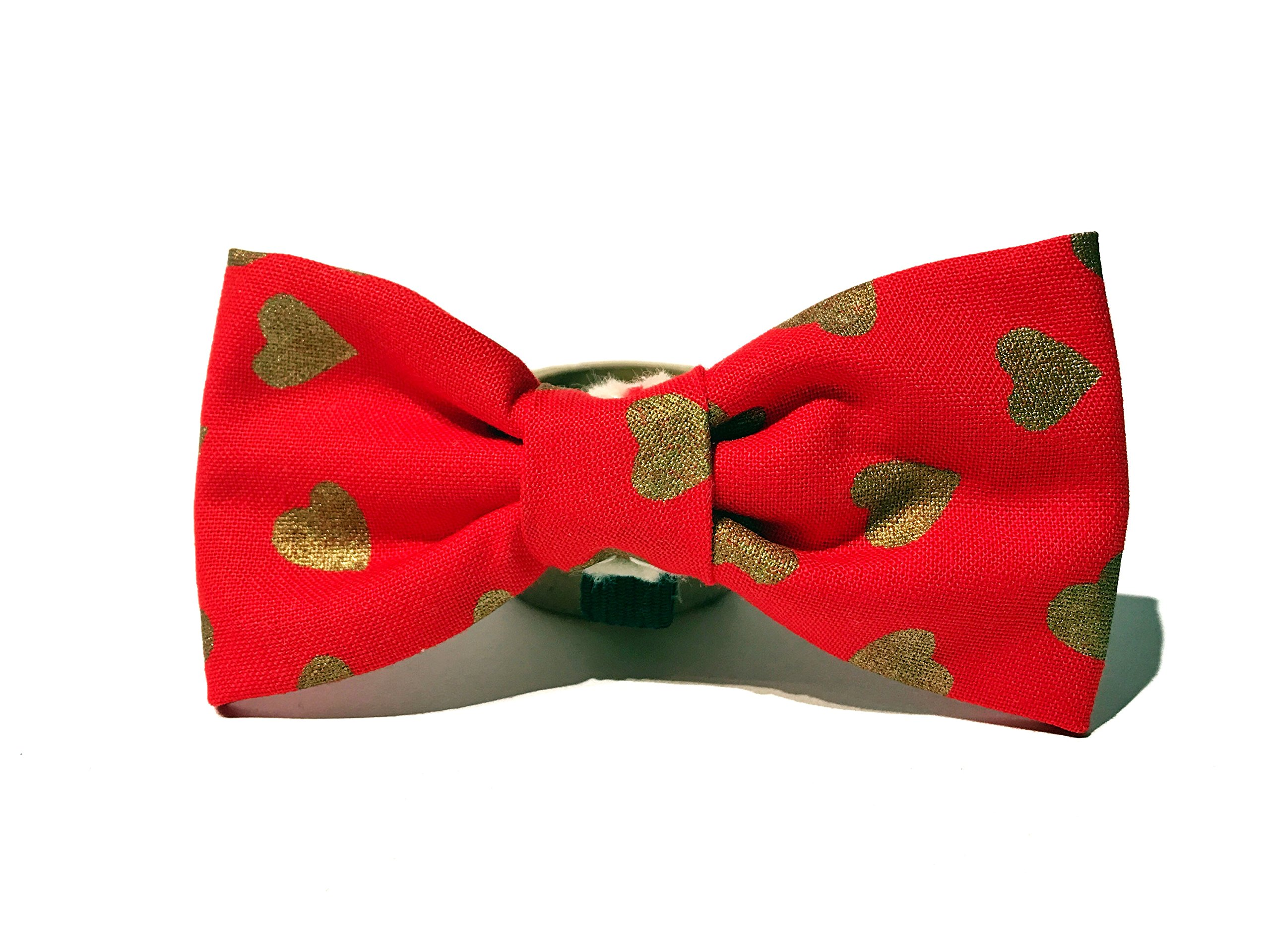 Very Vintage Design Dog Cat Collar Bow Tie Red Gold Heart Hand Crafted Collection Organic Cotton Personalized Adjustable Pet Bowtie