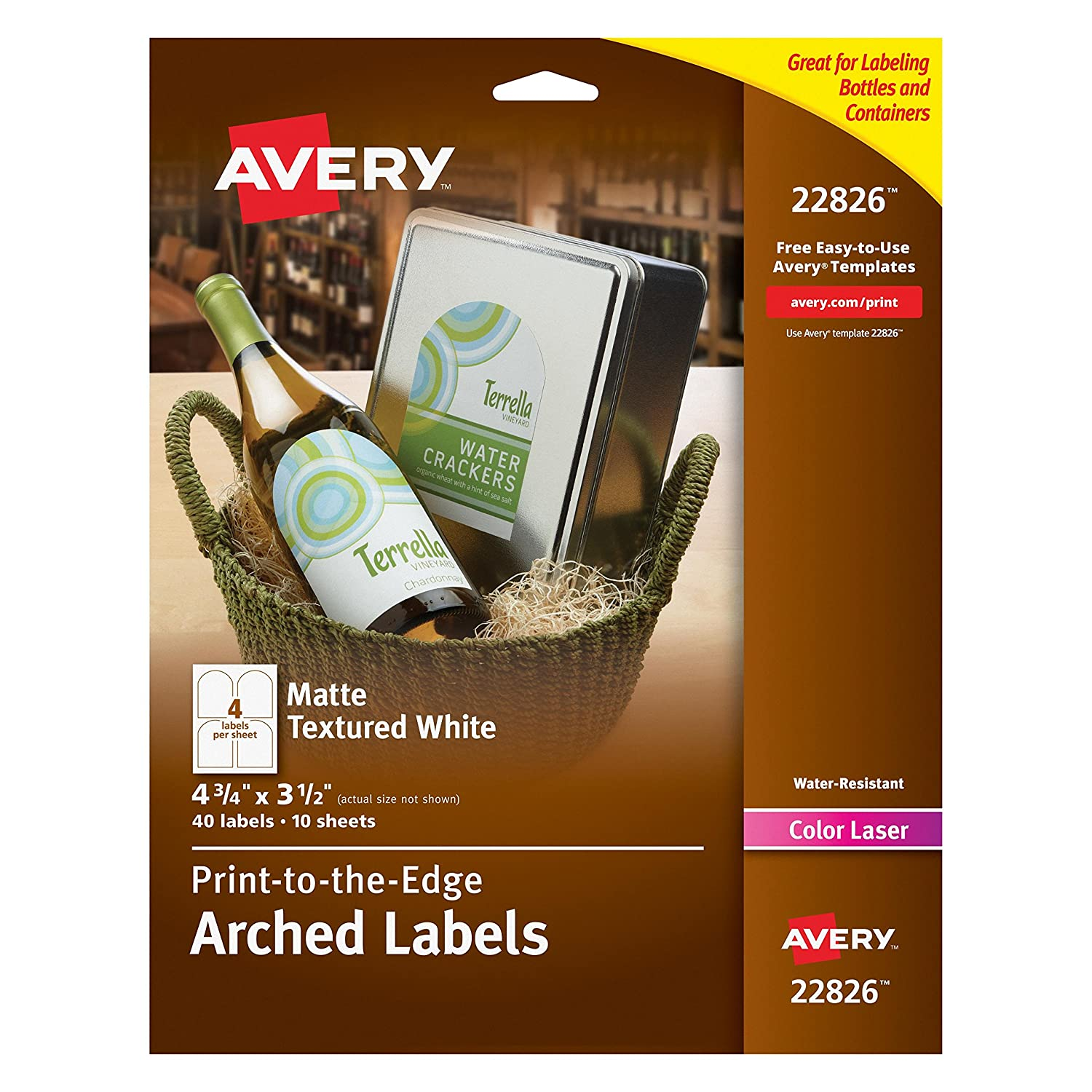 amazon com avery print to the edge arched labels matte