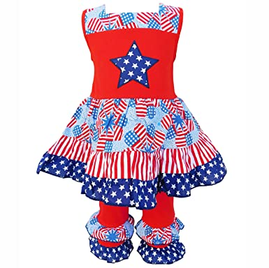 52456f3f41 AnnLoren Girls Red sz 6 6X Patriotic Stars   Stripes 4th of July Holiday  Outfit