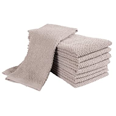 KAF Home Pantry Montclair Kitchen Towels (Set of 8, 16x26 inches), 100% Cotton, Ultra Absorbent Terry Towels - Grey
