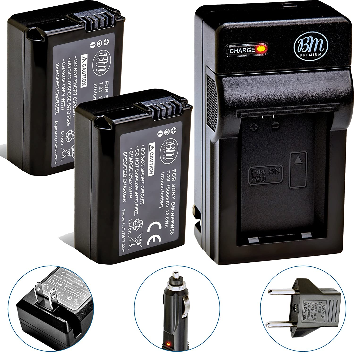 BM Premium 2-Pack Of NP-FW50 Batteries & Charger for Sony DSC-RX10/B, DSC-RX10 II, DSC-RX10 III, Alpha A6300, Alpha 7, A7R, A7R II, A7S, A7S II, A7II, A3000, A5000, A5100, A6000, NEX-3, NEX-C3, NEX-F3K, NEX5, NEX5K, NEX5N, NEX5T, NEX6, NEX7, SLT-A33, SLT-A
