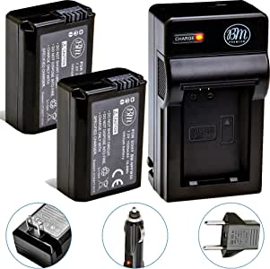 BM Premium 2 NP-FW50 Batteries and Charger for Sony A6400, DSC-RX10 IV, DSC-RX10 III, DSC-RX10 II, DSC-RX10, Alpha 7, Alpha 7R, a7, a7R, A7s, A7s II, a3000, a5000, a6000, a6300, a6500 Digital Cameras