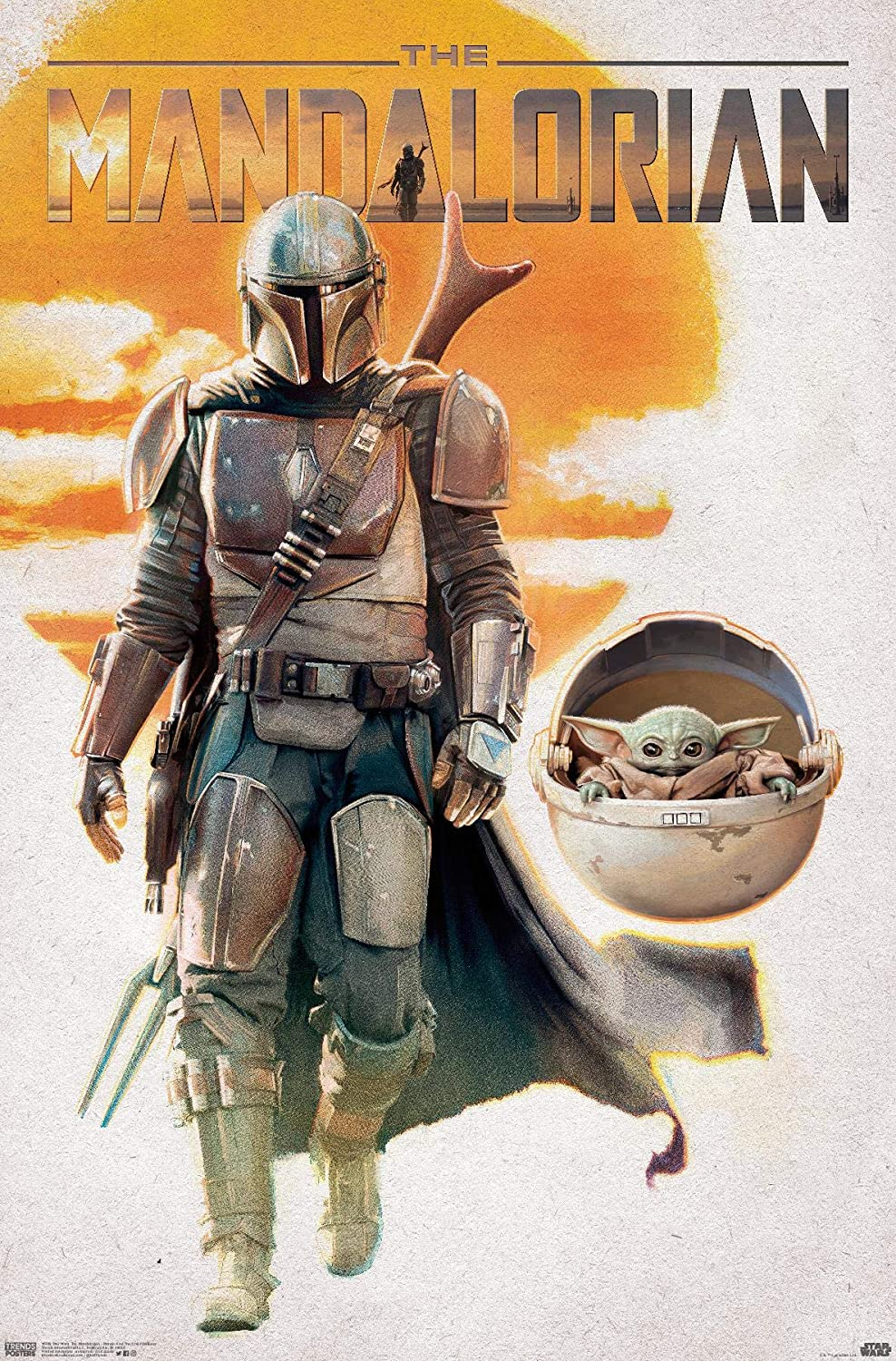 Trends International Star Wars: The Mandalorian - Mando and The Child Walking Wall Poster, 22.375