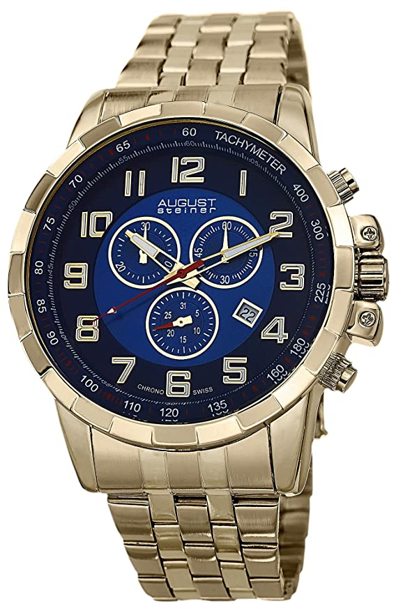 Amazon.com: August Steiner Mens AS8118YG Stainless Steel Watch: August Steiner: Watches