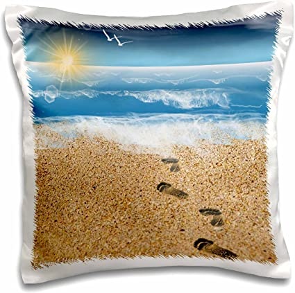 pc/_204470/_1 16 by 16 3dRose Footprints in The Sand with Ocean Background-Pillow Case