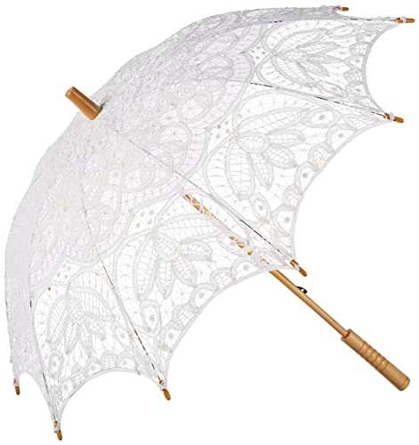 Paraguas con encaje estilo Renacimiento., blanco (blanco), taille unique