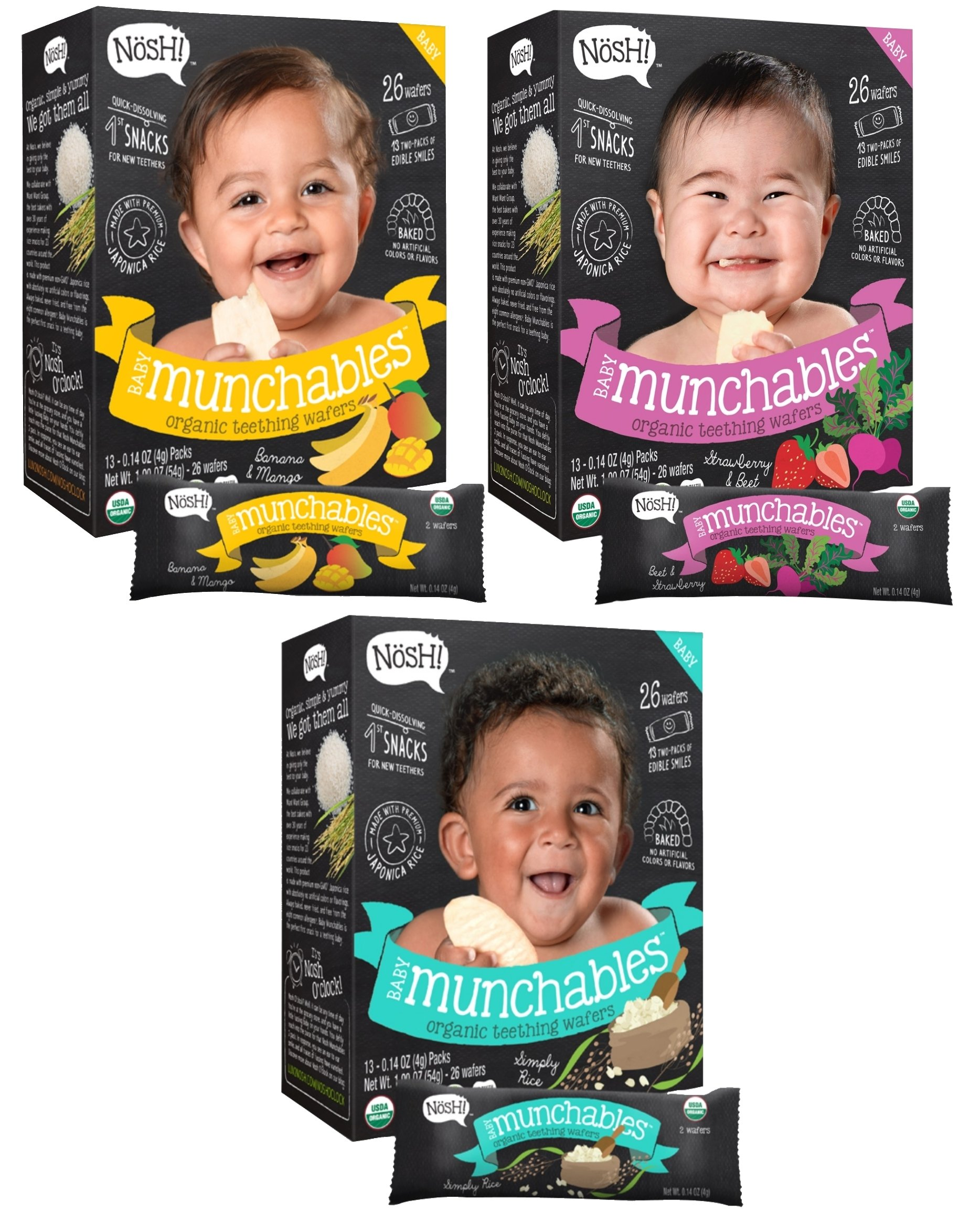Nosh Baby Munchables Teethers Organic Rice Teething Wafers, 26 Piece, Sampler Pack (Pack of 3)