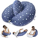 Bamibi® Almohada Embarazada y Cojín Interno Multifuncional, Cojín Lactancia Bebé. Fundas de Algodón, Relleno de…