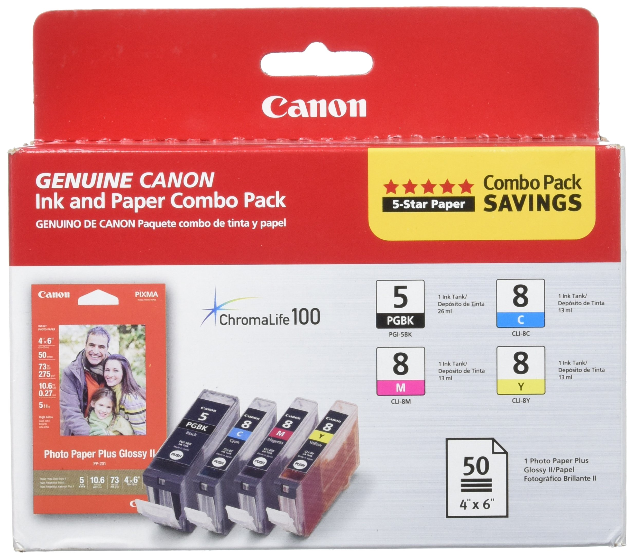 Canon PGI-5/ CLI-8 CMY Ink with PP-201 (50 Sheets) Combo Pack (0628B027AA)