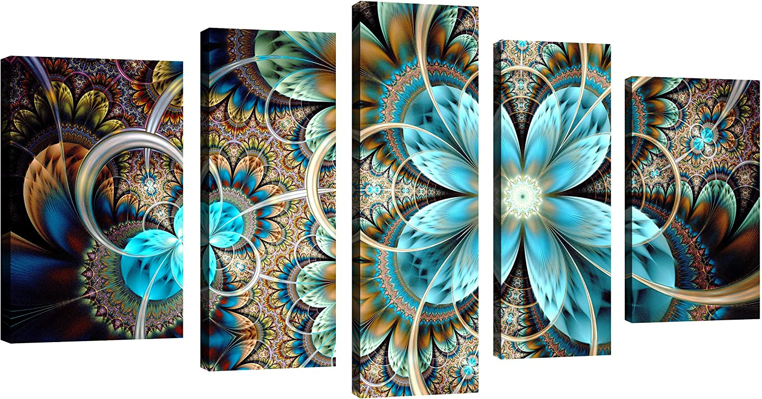 Amazon Com Qicai 5 Panel Blue Flower Canvas Wall Art Abstract Dark Yellow And Blue Fractal Flower Wall Decor Flower Painting Flower Canvas Wall Art For Bedroom Home Wall Decor Stretched And Framed