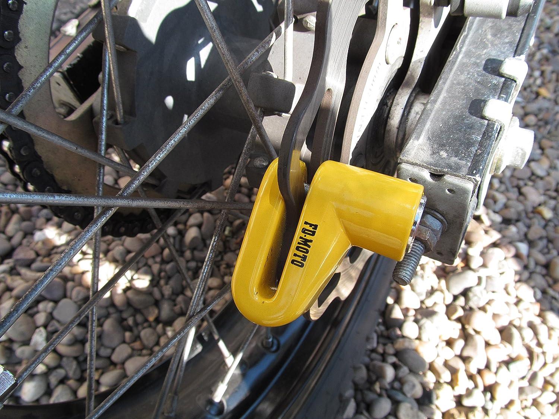 FD-MOTO Lucchetto Blocca Brake Disco Bloccadisco per Motocicli Scooter 6mm Perno Giallo Promemoria Via Cavo 1.4M