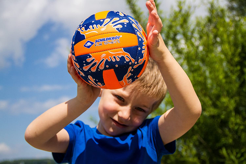 Schildkr/öt Funsports Mini Pelota de Voleibol de Playa Ideal para Ni/ños Peque/ños Resistente al Agua Salada 970274 /Ø 15 cm Superficie Textil Antideslizante Azul//Naranja Tama/ño 2