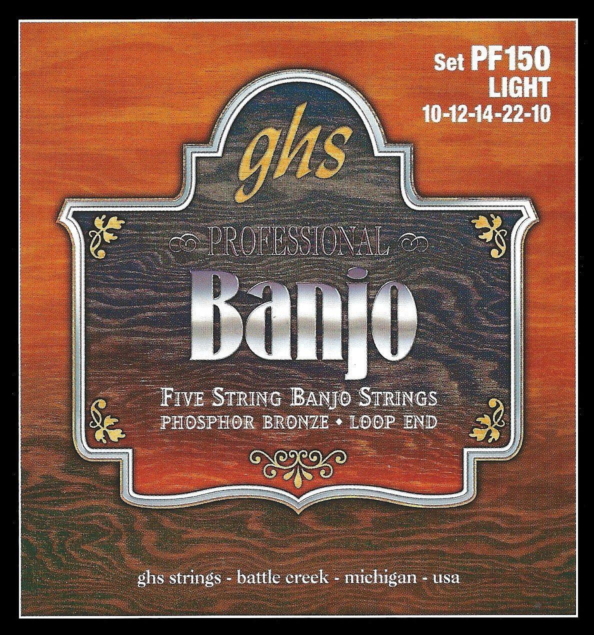 GHS Strings PF160 5-String Banjo Strings Medium .011-.026 Phosphor Bronze