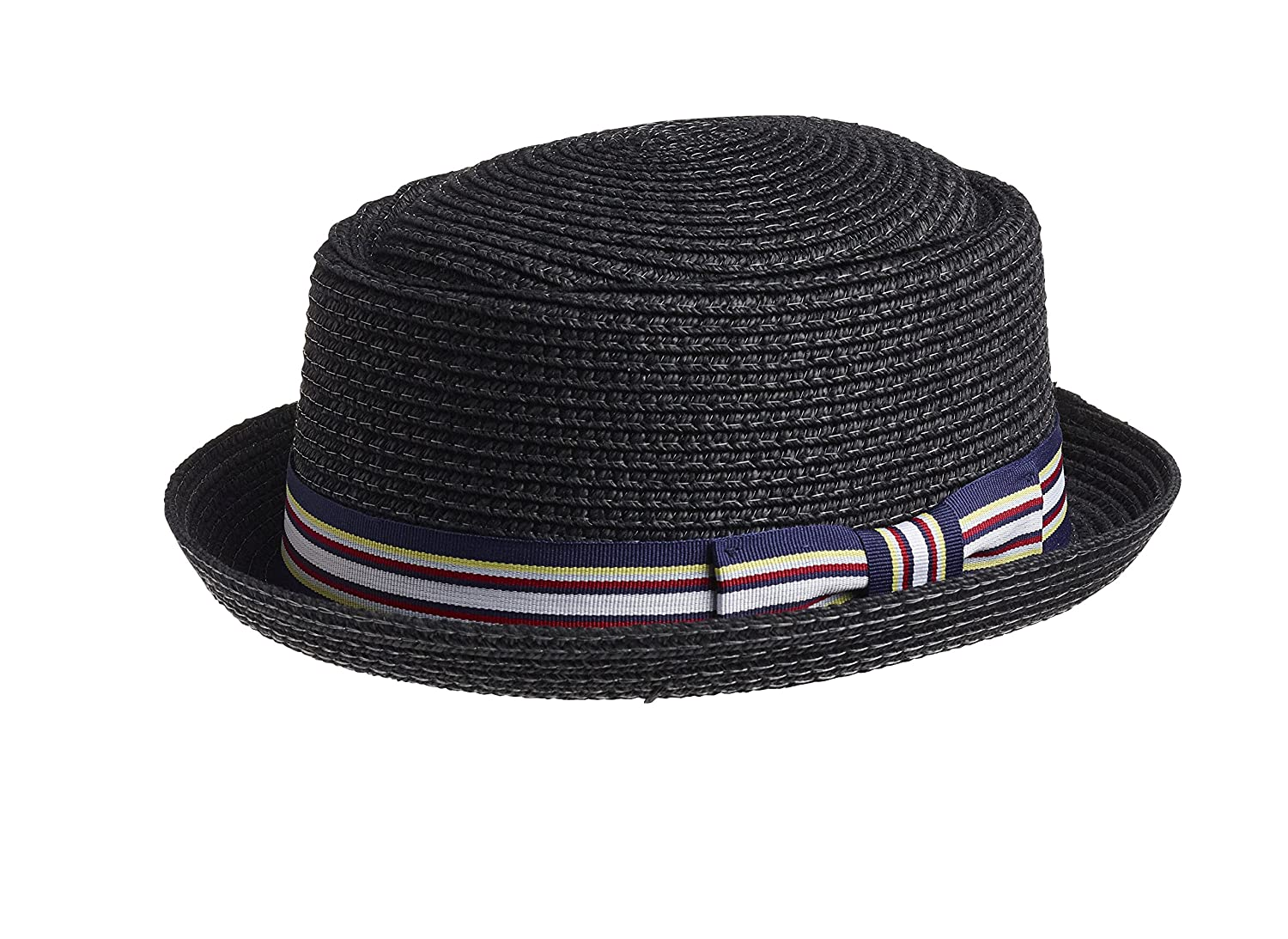 British Retro Straw Boater Hat / Pork Pie hat Black)