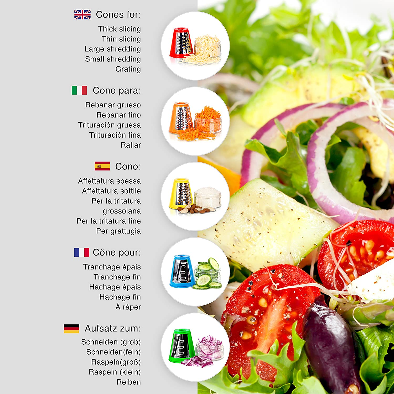 Duronic FP301 Cortador Verduras - Rallador de Verduras - Minipicadora + Exprimidor - Utensilio para Frappés - 3 en 1: Amazon.es: Hogar