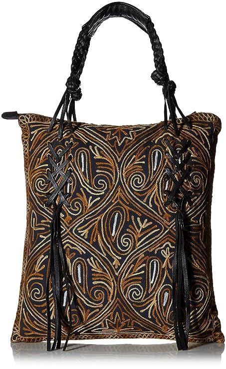 Bolso bordado para mujer con detalles de piel auténtica. 1ede174ca631