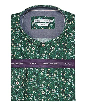 7ee170c2debb Zara Men Floral Print poplin Shirt 7545/314 Green at Amazon Men's ...