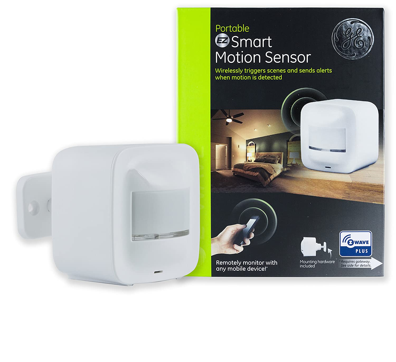 GE Enbrighten Z-Wave Plus Smart Motion Sensor, Table, Shelf, or Wall Mount, On/Off after No Motion is Detected, 180 Degree Detection Range, Scene Activation, Works with SmartThings, Wink, 34193