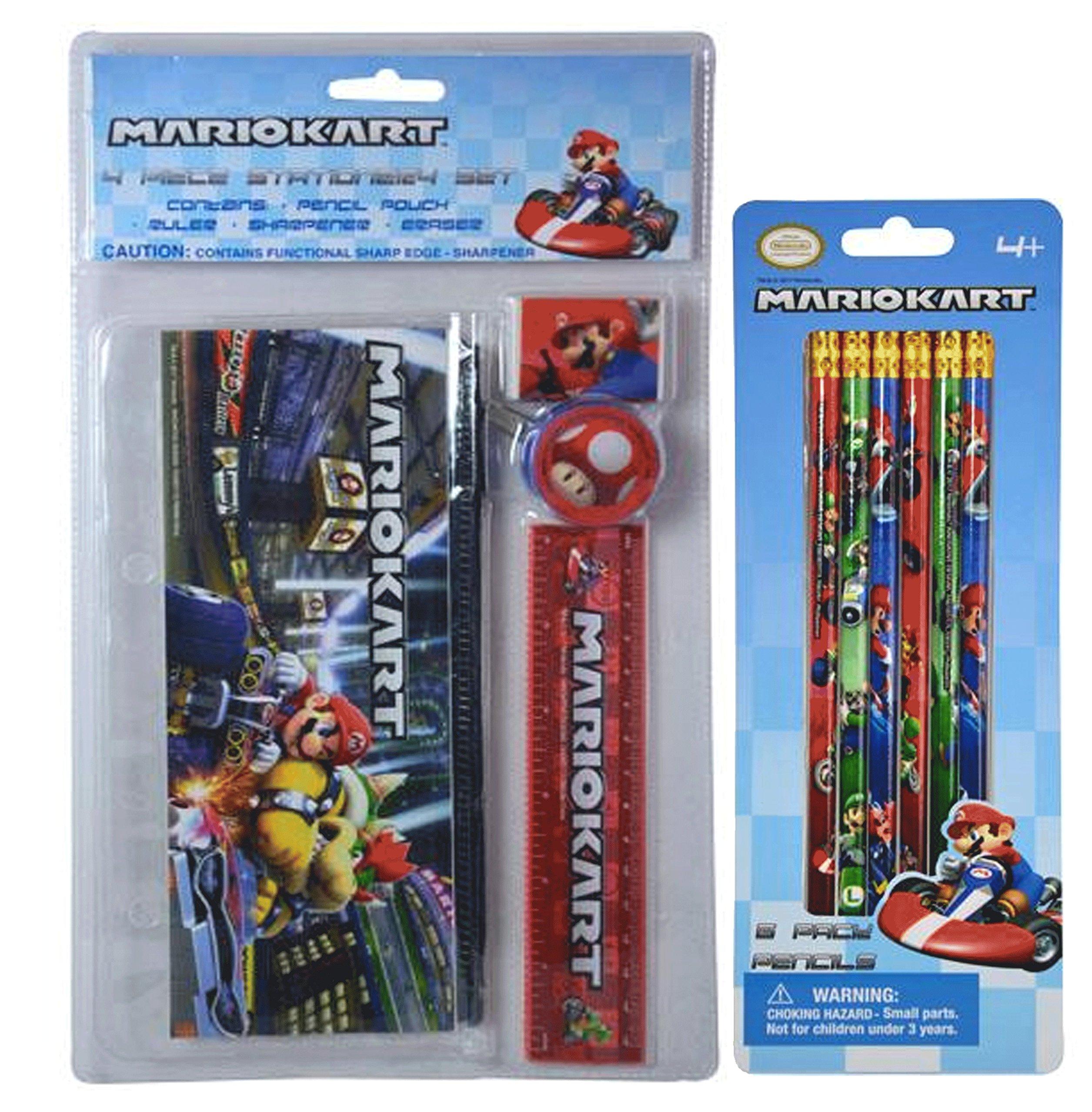 Super Mario Brothers MarioKart 10pc School Supplies Bundle! Includes 6pk Pencils, Pencil Pouch, Ruler, Sharpener & Eraser!