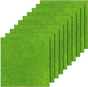 10Pcs Fairy Artificial Grass Miniature, Artificial Garden Grass Diorama Supplies, 6 x 6 Inches Miniature Artificial Craft Grass Plastic Grass Mat Crafts Dollhouse DIY Grass Garden Miniatures